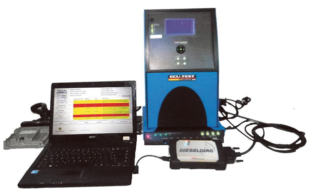 Realizando o diagnóstico através do simulador Ecutest Diesel e o Scanner Dieseldiag