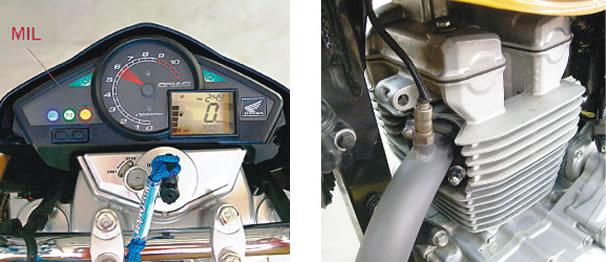 Luz indicadora de mau funcionamento - MIL/ Localização do Sensor de O2 na CB 300