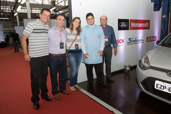 Representantes da Bosch, esq. para dir. Alfredo Nogueira Neto, Marcelo Lima, Daniela Machado, Leonardo Recher e Angelo Pedroso, regional Ford