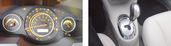 Alavanca de marchas oferece apenas 3 opções: Neutro (N); para frente (D) e para trás (R) / No painel, informações sobre a carga disponível, velocidade, rotação e econômetro