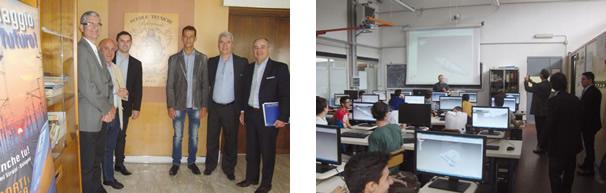 Comitiva parcial com o Dirigente da escola prof. Salvatore Grillo (de branco à esquerda) / Alunos em aula