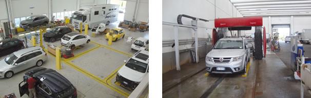 Trilhos para movimentar os equipamentos de alinhamento sem mover o carro / Área de lavagem