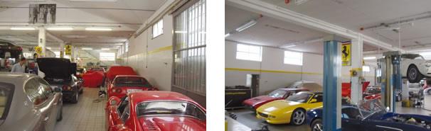 """É de tirar o fôlego, uma oficina """"entupida"""" de modelos Ferrari, Masseratti e Lamborghini! / Outro ângulo do interior da oficina"""