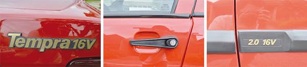 Símbolo dourado fazia brilhar a novidade das 16 válvulas e conferia status ao Tempra / Características dos modelos da Fiat, as maçanetas do Tempra são práticas e funcionais / 2.0 16V fixado na porta do motorista era um convite a entrar e sentir a potência do novo motor de 127 cv