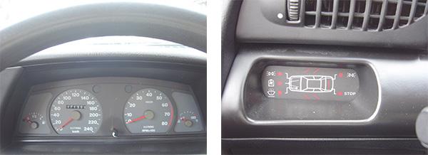 O quadro de instrumentos garantia uma ótima visibilidade ao condutor, além de ser prático e funcional / O sistema função de diagnóstico alertava as portas abertas, baixo nível da água do radiador e lavador, e luz de freio queimada