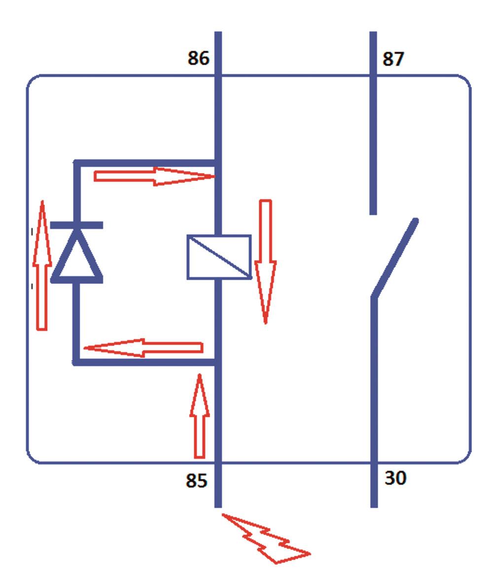 Fig. 03 – Relé de Alimentação com Diodo de Roda Livre