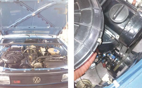 (esquerda) Volkswagen Passat ano 1986, que passou um processo de Retrofit <mundança de sistema de fluido refrigerante> de R-12 para R-134a / (direita) Compressor de um VW Passat ano 1996 com os engates dos manômetros de alta e baixa pressão transformados para o engate rápido do sistema de R-134a