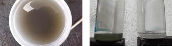 (esquerda) Óleo lubrificante retirado de um compressor, com sinais de início de contaminação, devido aplicação errada do fluido refrigerante. Comparação visual, pois o óleo novo é totalmente incolor, transparente, e neste caso, podemos visualizar ainda resíduos de limalha de alumínio /  (direita) Dois frascos de óleo lubrificante do sistema de ar-condicionado automotivo PAG 150, do lado esquerdo da foto, visualmente está todo escuro quase preto, indicando contaminação, e do lado direito da foto, um frasco com resto óleo lubrificante novo incolor, indicando que estaria apto para uso