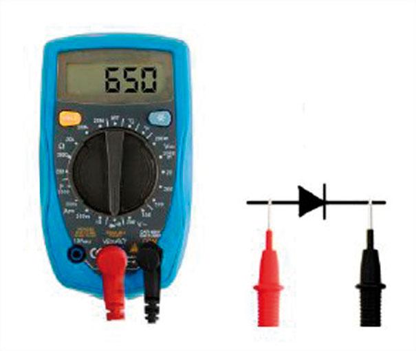 Fig. 8 – Teste de diodo – Curso de eletrônica Chiptronic