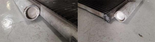 Foto do condensador do Toyota Etios, com a parte do filtro secador lacrada, obrigando a substituição do condensador inteiro