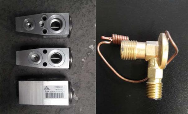 """Fotos de válvulas de expansão: modelo """"block"""" ao lado esquerdo e a válvula de expansão em formato """"L"""", com o seu bulbo de temperatura de saída do evaporador"""