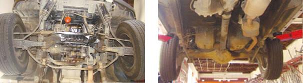 Vazamento de óleo de motor proveniente da junta do cárter e retentor do volante/ Undercar em perfeitas condições necessitou da regulagem dos freios de estacionamento (freio de mão)