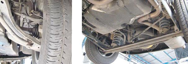 A suspensão dianteira apresentou boa resistência, onde nenhum componente estava avariado/ O conjunto traseiro semi-independente é simples e robusto