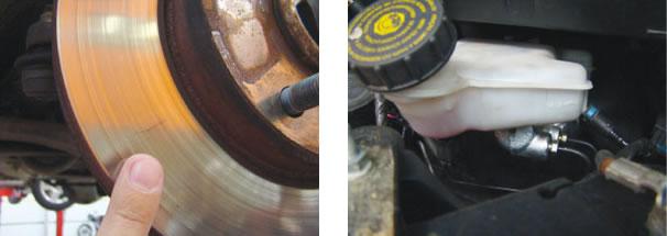 Disco de freio dianteiro apresentou fissuras por superaquecimento. Pastilha pode ter sido a vilã da história/ O cilindro mestre havia sido trocado meses antes da avaliação