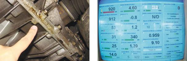 Vazamento inicial de óleo de câmbio/ Leituras de parâmetros: injeção e combustão sem problemas aparentes