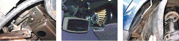 Barramento que fixa as chapas protetoras do cárter para acesso ao compressor/ Ventilador interno e reciclo interno/ Mangueira de alta
