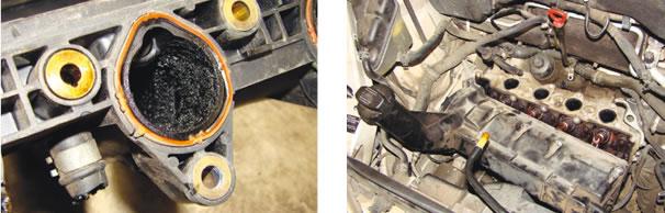 O coletor de admissão e a tampa de válvulas estavam repletos de borra de óleo