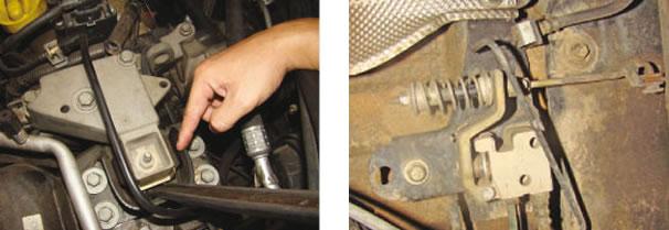 diferentemente dos coxins laterais do motor, que estavam em bom estado/ Válvula reguladora do freio traseiro
