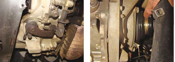 Vazamento de óleo da caixa de marchas através do retentor inferior do trambulador/ Vazamento de óleo da caixa de marchas através do retentor lateral (tulipa)