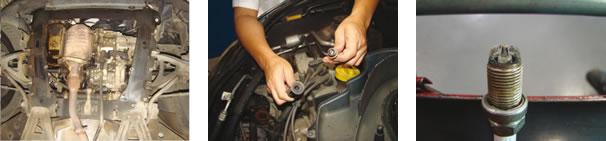 Vista inferior dianteira/ Velas gastas e cabos de ignição ressecados necessitaram ser trocados