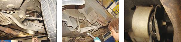 Na suspensão, a  parte estrutural estava intacta;  buchas de bandejas não apresentaram problemas, porém o pivô tinha folga excessiva.  O coxim inferior do câmbio estava rompido...