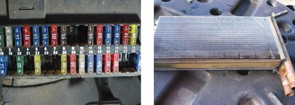 As pistas de ligação do ventilador costumam se romper no suporte de fusíveis/ Radiador do ar quente