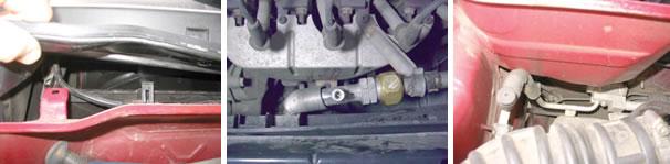 Acesso ao filtro antipólen Celta/ Engate de serviço da linha de baixa/ Engate de serviço da linha de alta Celta