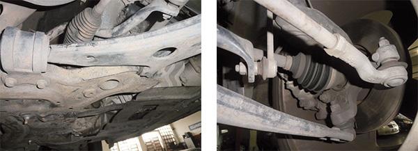 Bandeja dianteira – buchas resistentes / Terminal de direção, pivô e bieleta