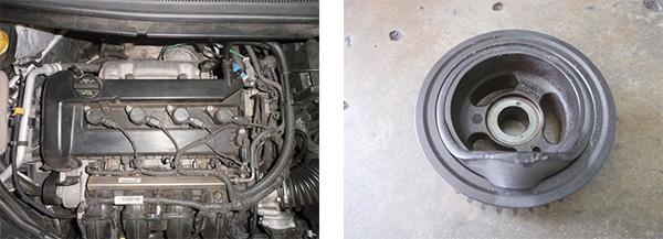 Fácil acesso às velas, bobinas, bicos e coletor / Polia do motor, danificada