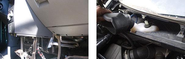 Localização do radiador de ar quente e Filtro de cabine tem acesso difícil