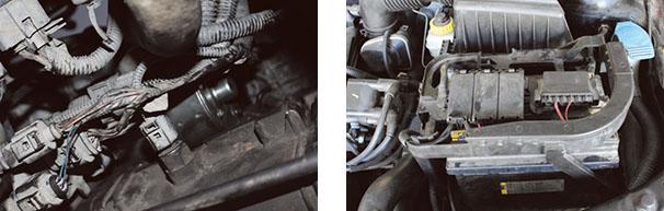 Chicotes à vista - incidência grande para contaminação por umidade, mas de fácil acesso a reparos / Motor Flex 1.6 com sistema de injeção eletrônica multiponto (Bosch ME 7.5.30)