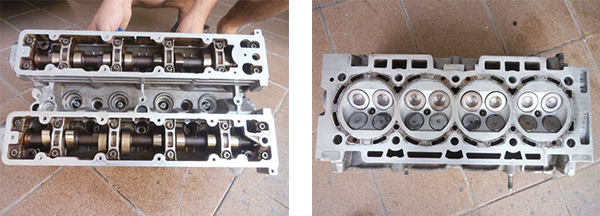 Vista superior do cabeçote com o duplo comando / Vista inferior do cabeçote com as 16 válvulas