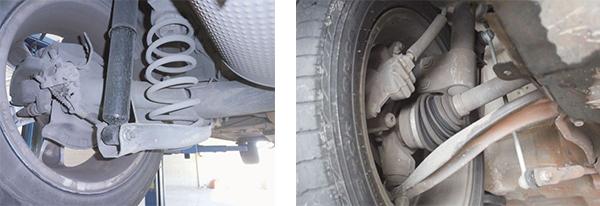 Vista dos componentes da suspensão traseira / Detalhes dos componentes da suspensão