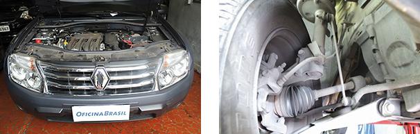 Imagem à direita: Suspensão dianteira em detalhe