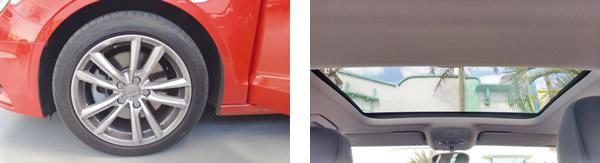Rodas aro 17 e pneus de perfil baixo 225/45R17 / Amplo teto solar