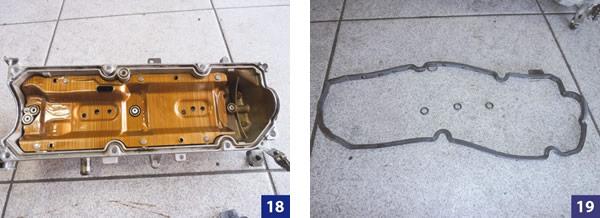 Furos de passagem de óleo com anéis orings / Junta da tampa de válvulas nova e anéis orings