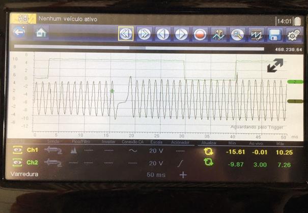Osciloscópio automotivo analisando o sinal de fase e rotação