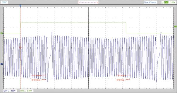 Imagem de sincronismo de fase e rotação obtida com osciloscópio de uso geral, junto ao computador via USB
