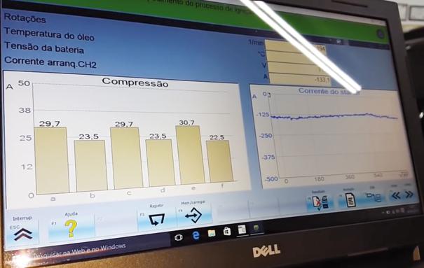 Imagem do osciloscópio automotivo. Teste de compressão relativa.  Este procedimento verifica as condições mecânicas dos cilindros analisando o esforço do motor de partida