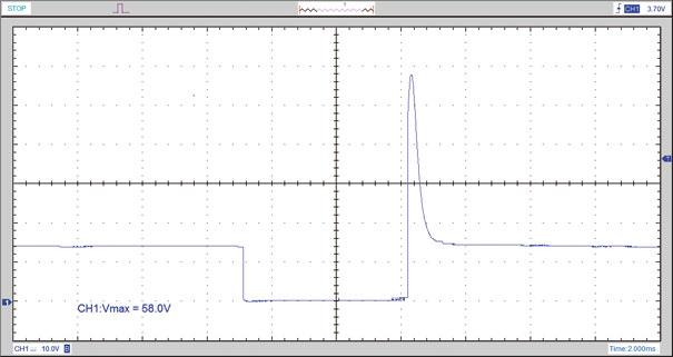 Figura 12- Tensão no injetor. Pico máximo de tensão de 58 volts