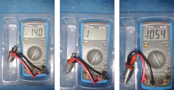 Figura 16- teste de resistência. Injetor Bom    /   Figura 17- Teste de resistência. Injetor após a lavagem por ultrassom   /  Figura 18- Teste de indutância