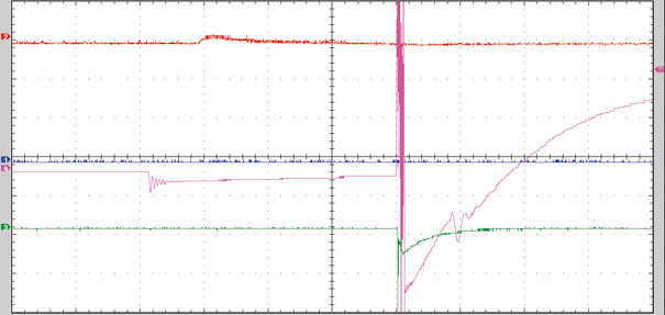 Figura 6- Canal 4 (lilás) demonstra falhas no secundário