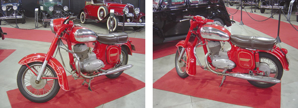A primeira moto do empresário Marcos Cardoso, a Jawa 250, atrai olhares dos visitantes pelo seu desenho peculiar