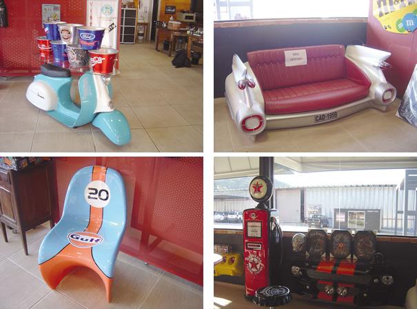 Objetos de decoração também estão disponíveis para á venda, tudo para fazer a alegria dos antigomobilistas