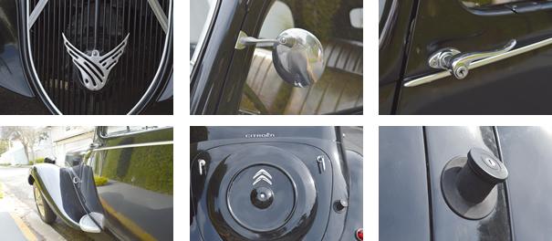 A Phoenix era o símbolo que a Citroën escolheu para o Traction Avant, para ela o modelo era o renascimento do automóvel; o cuidado estético nos detalhes como retrovisor e maçaneta, paralama curvo casava bem com o desenho da lateral, assim como a tampa do porta-malas e ao lado tampa do tanque de combustível