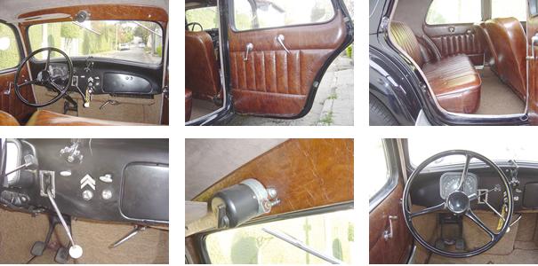 O interior do Traction Avant prezava pelo conforto, com grande área envidraçada; assoalho totalmente plano; acabamento em couro; alavanca de câmbio posicionada no painel, motor elétrico do limpador de parabrisa