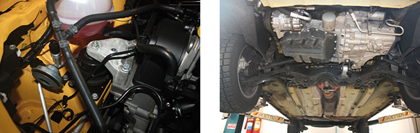 Coxim frontal do motor é hidráulico e ajuda no controle das vibrações / Bom espaço e mecânica simplificada também na parte de baixo do veículo