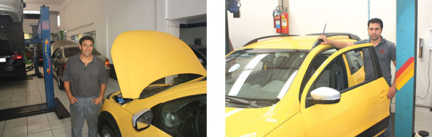 José Carlos, proprietário da oficina Igarapava, admira a simplicidade da Volkswagen / Lindemberg A. da Silva, da Suspentécnica, ressalta o bom trabalho feito na suspensão
