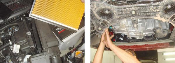 Troca do filtro de ar é simples e rápida / Excelente acesso por baixo ao motor e transmissão