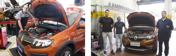 Fábio Alves Pereira avalia o novo Sandero na Binho´sCar Service / Da esquerda para a direita Michel Batista Iaras, Juarez Barbosa Florêncio e Pedro Henrique FerlaLarucci da Auto Elétrica Jozi